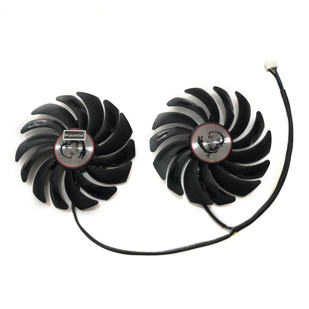 2pcs/lot computer radiator cooler Fans RX470 Video Card cooling fan For MSI RX570 RX 470 GAMING 8G GPU Graphics Card Cooling new original 95mm pld10010s12hh 6pin graphics video card cooler fan for msi gtx 980 970 960 gaming dual fans twin cooling fan