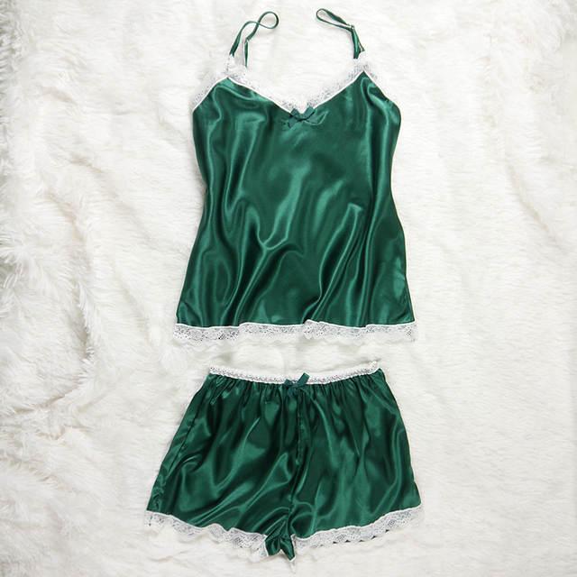 f0ae3c2a6 Mulheres Pijama Sexy Lace Silk Pijamas Set Lingerie Roupas Para Mulheres  Preto Cintas Pijama Roupão de
