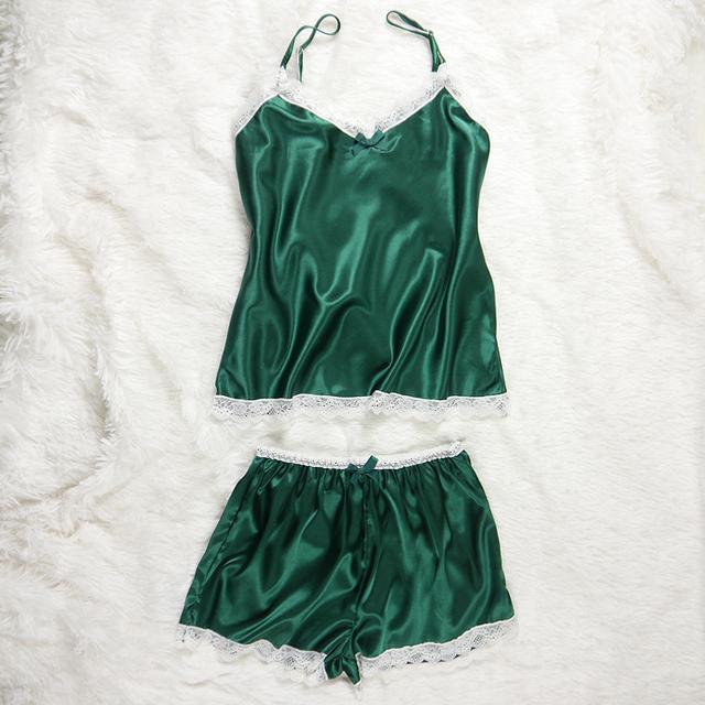 Sexy Lace Black Straps Silk Pyjamas Set Sleepwear