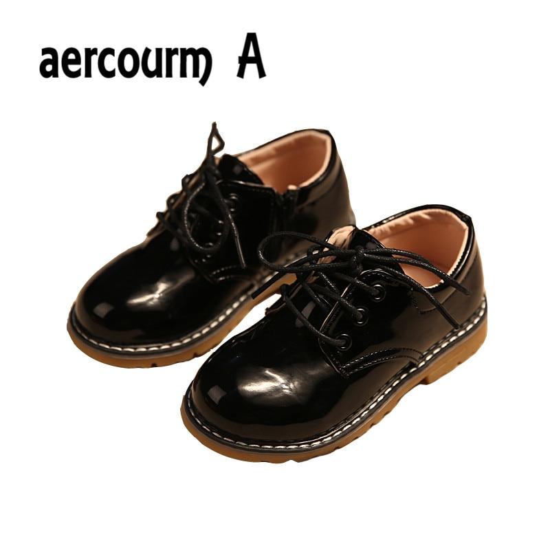 Aercourm A 2018 fiú cipő tavaszi árapály modellek világos PU bőr cipő fiúk lányok gyerekek cipők gyerekek alkalmi cipő fekete 21-36