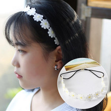 Popular White Daisy Flower Hair Bands Embroidery Sweet Hair Hoop Elastic Headband Hair Accessories For Festival Wedding Bridal цены онлайн