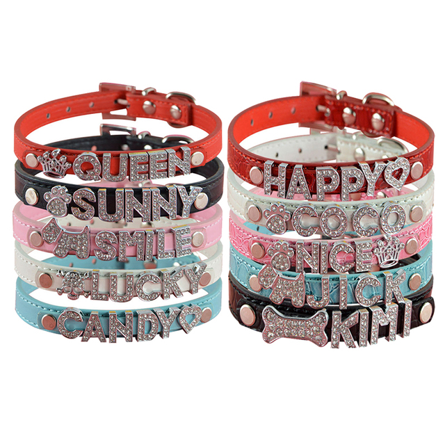 10MM Personalized Pet Dog Collar with Rhinestone Free letters and Charm  Puppy Cat Dog Collars 6b6f5937b615