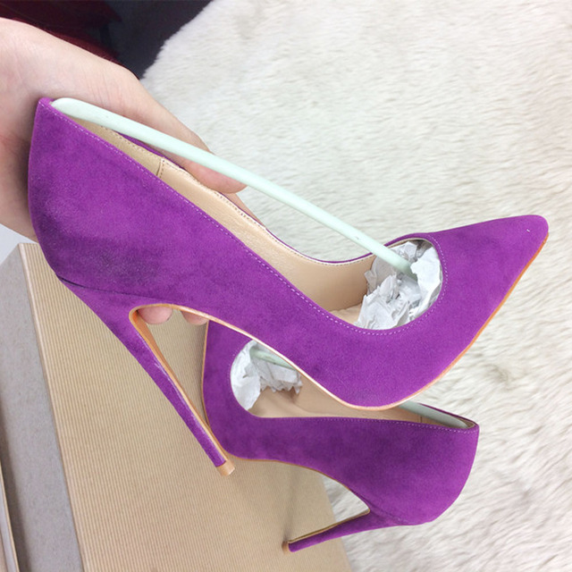 cd42ce0097f2 Purple high heels exclusive patent brand fashion pointer sexy shallow mouth high  heels tide women single shoes 10cm 12cm ban