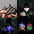 Saomai led rgb mutilcolor luz máscara de protecção facial máscara dj hero festa de aniversário do dia das bruxas levou máscaras coloridas para mostrar
