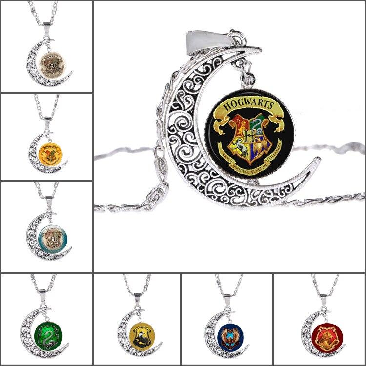 10 Pcs lot Harry Potter retro time glass crystal Moonstone sweater chain necklace Pendants font b