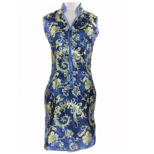 Fashion White Chinese Lady Rayon Qipao Cheongsam Vintage Button Dress Totem&Flower