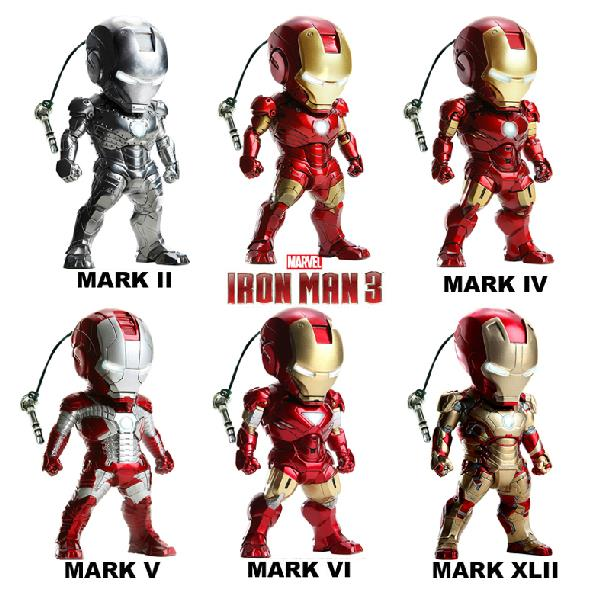Super Heros Iron Man 3 MK2-6 MK42 Mini Egg Attack PVC Action Figure Collection Toys Models 6pcs/set Free Shipping iron man action figure mini egg attack light 6pcs set action figures pvc brinquedos collection figures toys for christmas gift
