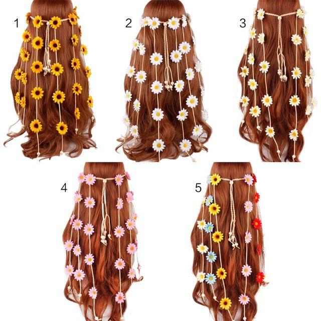 Women's Festival Bohemian Artificial Sunflower Braided Headband