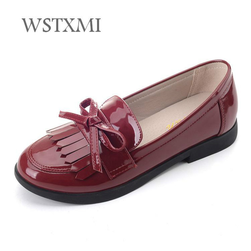 Girls Genuine Leather Dress Shoes for Kids British Wind Fashion Leather Shoes Tassel Low-heeled Children Wedding Pig Skin Inside
