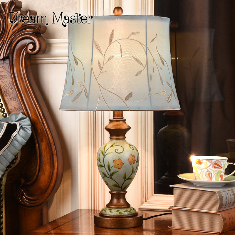 American bedroom bedside lamp warm fashion creative European style of the ancient village study the living room decorative lamp american study desk lamp of bedroom the head of a bed european style living room hh creative fashion retro robot reading lamp