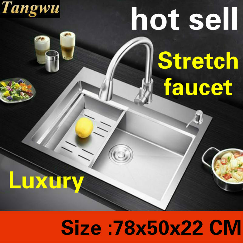 Free Shipping Apartment Kitchen Manual Sink Single Trough 304 Stainless Steel Sliding Board Stretch Faucet Hot Sell 78x50x22 MM