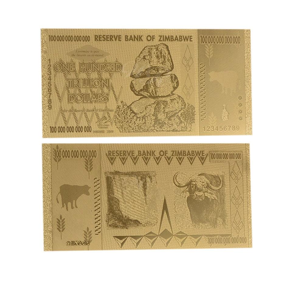 COA PACK WR 2008 Zimbabwe 100 Trillion Dollars Banknote 24K GOLD Bank Note Gift