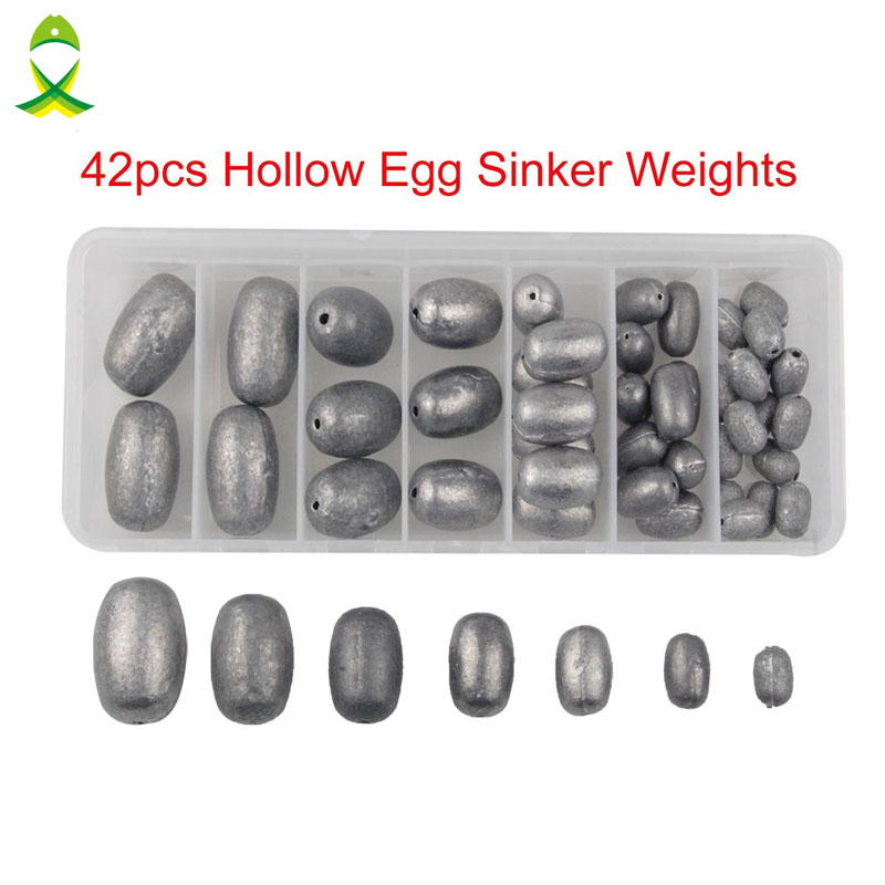 JSM 42Pcs/box Mixed Size Fishing Sinker Weights Olive Egg for Fishing lead Sinkers Hollow Casting Weight Sinkers Kit