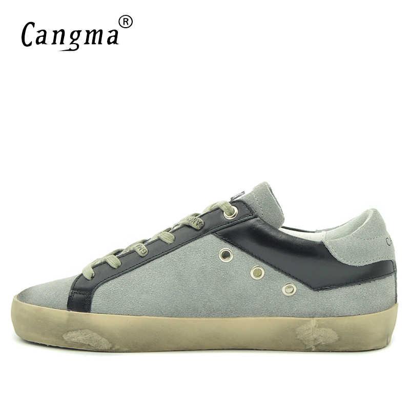 CANGMA ที่มีชื่อเสียงยี่ห้อรองเท้าผ้าใบบุรุษรองเท้า Retro สีเทาของแท้หนังหนังผู้ชายรองเท้า Breathable ชายรองเท้าผู้ใหญ่รองเท้า