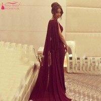 2016 Red Arabic Evening Dress With Cape Mermaid Prom Dress vestido de festa robe de soiree evening dresses long Party Dress Z071
