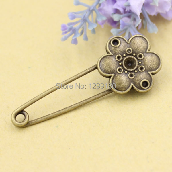 10pcs/lot Alloy Antique Bronze Vintage Flower Brooch Safety Pins For Garment Accessories Scarf Clip pins Length:54mm (K02070)