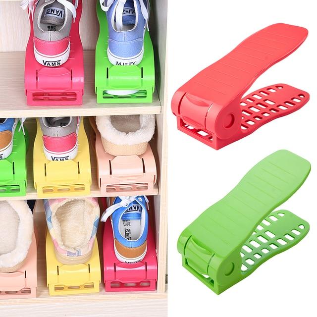 Пластиковая обувь Организатор стойка Полка Стеллаж для хранения обуви двойной регулируемый Экономия пространства обуви держатель Гостиная обувь Организатор