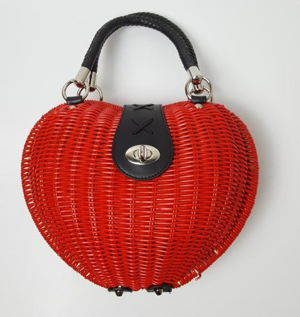 28x20CM   red PVC woven  Kniting bag heart-shaped shell women handbag  A2350