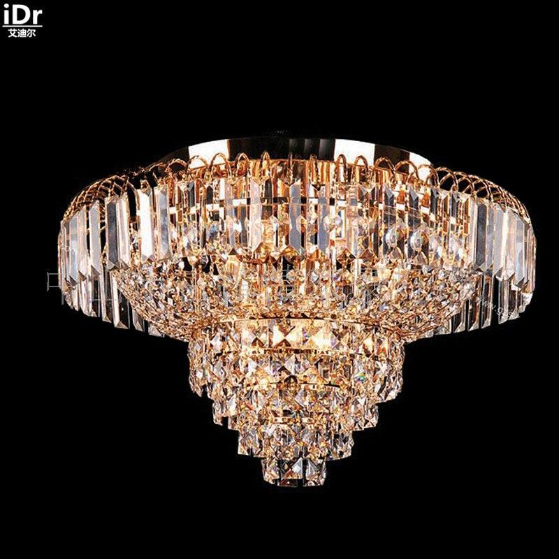 Traditionnelle lampe salon penthouse étage Maison étage escalier lampe en cristal éclairage lampes Plafonniers or Lmy-0165