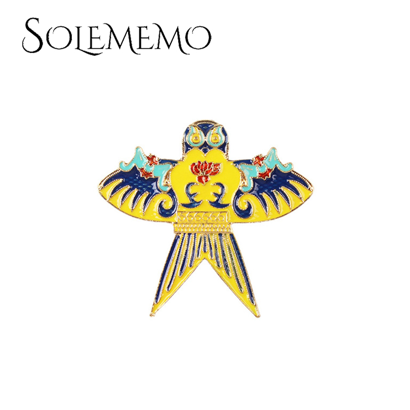 Solememo New Design Stitching Color Wing Bird Owls Brooches Pin For Women Vintage Fashion Scarf Clips Jewellerys Gifts X0222