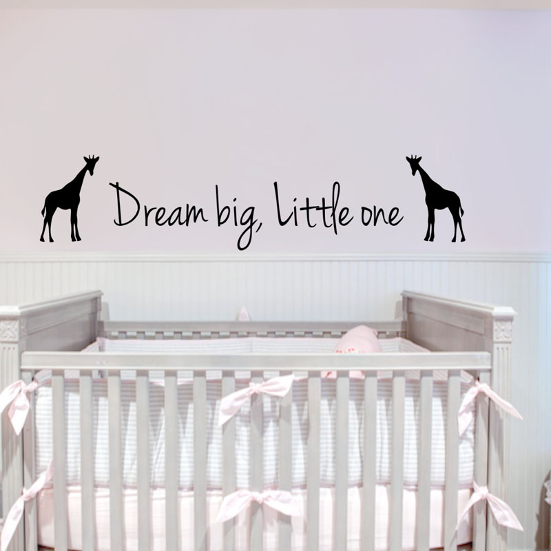 Dream Big Little One Giraffes Wall Stickers Kids Bedroom Removable DIY Vinyl Wall Decals Sticker Home Decor