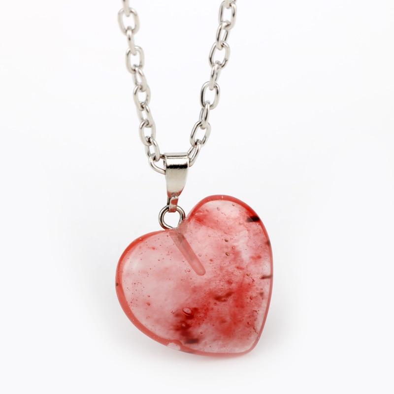 HANCHANG DIY Bohemian Style Handmade Natural Gravel Necklace Natural Stone Tassel Heart Jewerly Necklace Sardonyx Women Gift