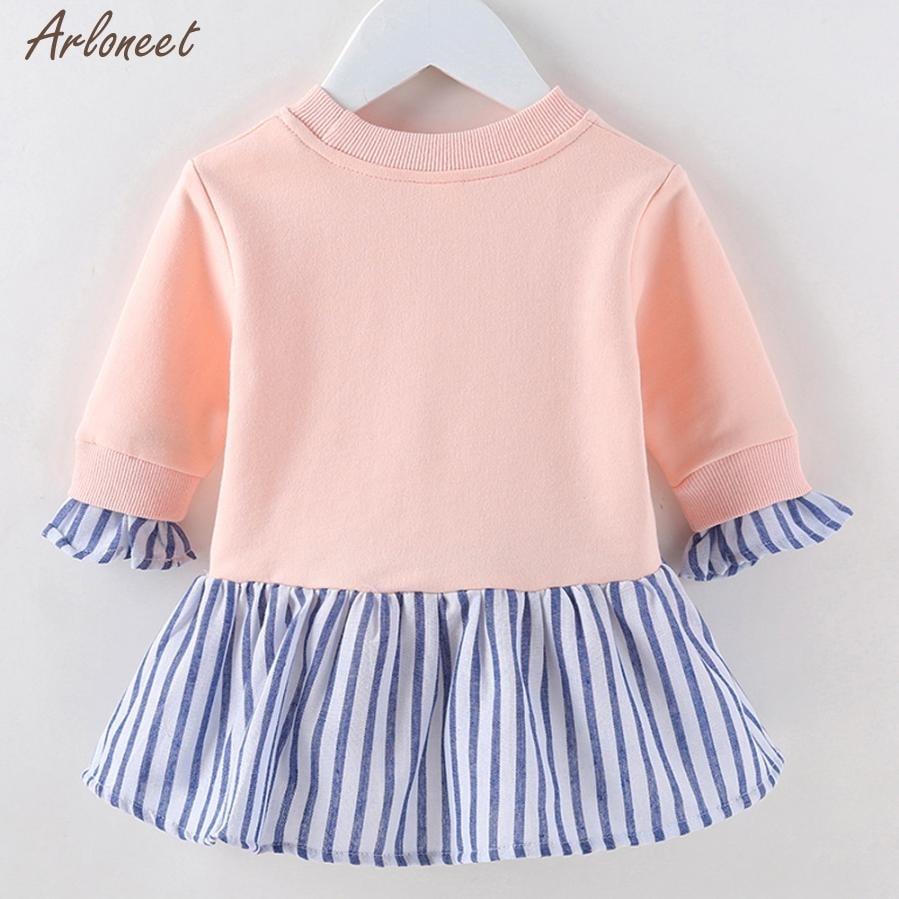 2017 baby dresses girl Fashion Girls Long Sleeve Cute Stripes Child Warm Winter O Collar Dress