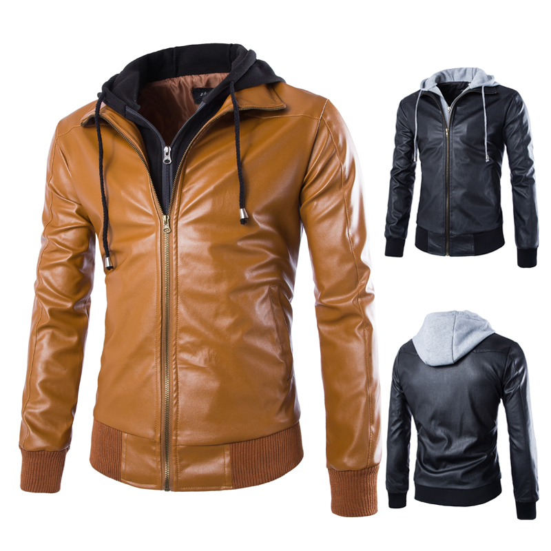 Online Shop Jacket leather pilot hooded vintage mens faux leather ...