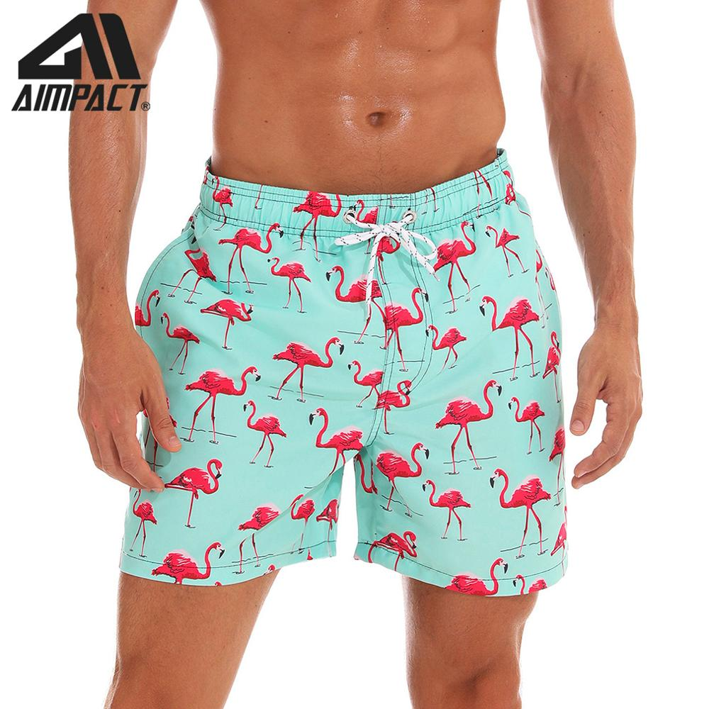 AIMPACT Men's Swimsuit  Board Shorts Swimming Trunks For Men Beachwear Green Flamingo Sexy Swimwear With Mesh Lining AM2197