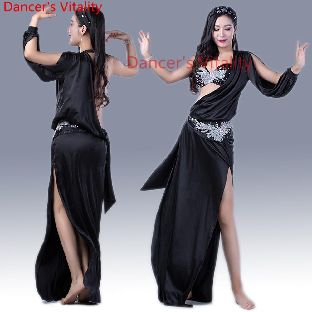 New Belly Dance Clothes Sexy Spandex Belly Dance Set Bra Dress Headdress Hip Scarf Women Belly