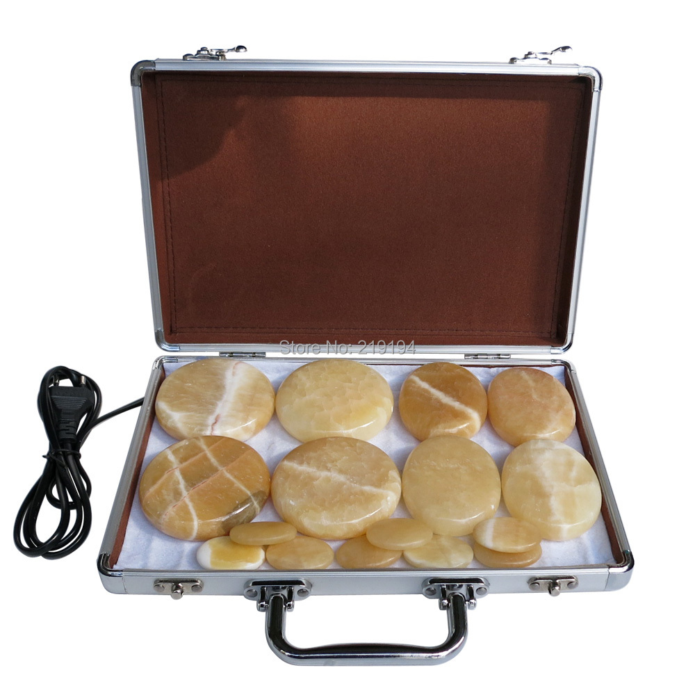 New type! yellow Jade 16pcs/set Hot stone body massager Salon SPA with heater box Stone Massage Rocks CE and ROHS