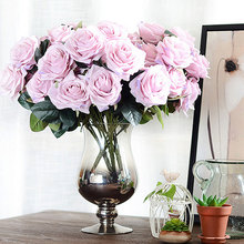 45cm Fake Flower Wedding Silk Rose Artificial 10 Heads French Bouquet for Home New Year Marriage Decorative