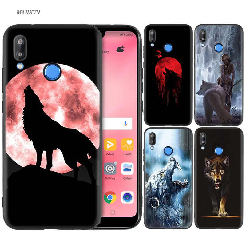 Black Silicone Case Bag Cover for Huawei P30 P20 P10 P9 P8 Mate 10 20 Lite 2017 Mini Pro P Smart Plus 2019 Shell Coque Wolf