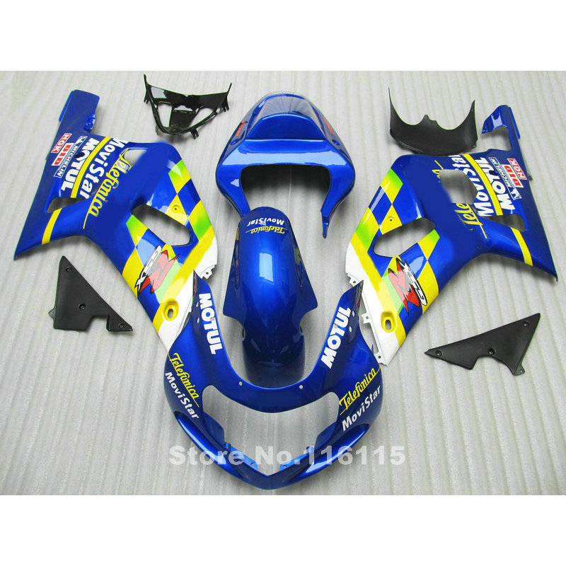 Fairings set for SUZUKI GSXR600 GSXR750 K1 2001 2002 2003 GSXR 600 750 01 02 03 yellow blue Movistar fairing kit R842