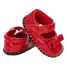 Autumn Baby Girl PU Bow Princess First Walkers Shoes Non-slip Breathable Infant Soft Sole Shoes