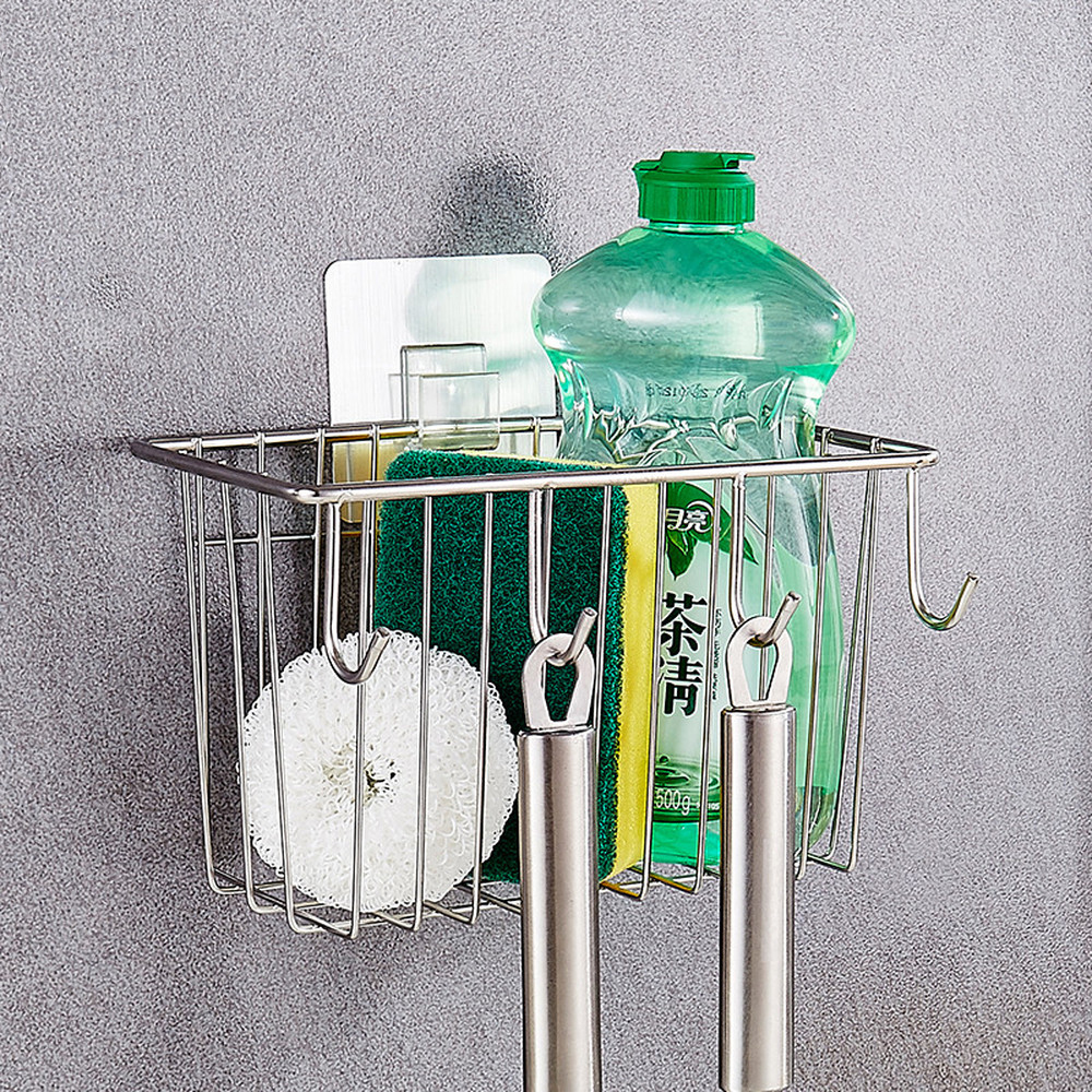 304 stainless steel hanging basket kitchen storage rack drain rack free punching wall hanging basket with hook wx8131454