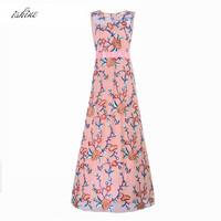 Fall 2017 Fashion Women Floral Embroidery Long Style Party Dresses Pink Women Clothing Christmas Prom Sleeveless