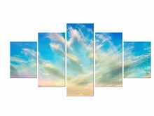 5 Pieces HD ropical blue sky Nature Art Poster Print Landscape Wall Pictures Home Room Decor Living Framed