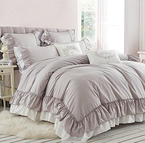 Aliexpress Com Buy Light Grey Double Bed Princess Ruffle