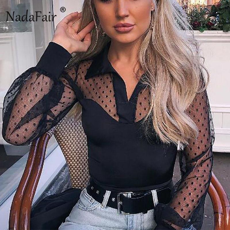 Nadafair chemise à manches longues en maille noire femme Sexy Club Dot blanc hauts et chemisiers femmes 2019 été col en V Blouse transparente