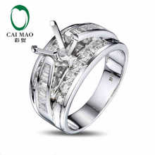 CaiMao Cushion cut Semi Mount Ring Settings & 1.48ct Diamond 14k White Gold Gemstone Engagement Ring Fine Jewelry