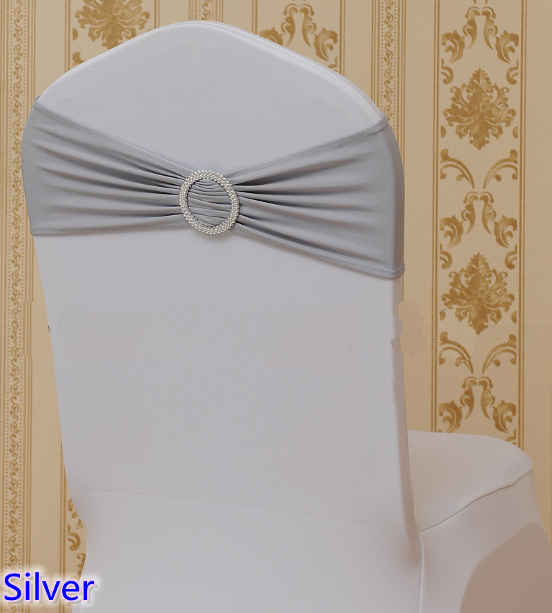 Silver Colour Wholesale Bows Chairs Sash With Round Buckles For Chair Covers Spandex Band Lycra Sash Bow Tie Wedding Decoration