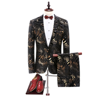 2017 New Arrivel Seasons Fashion Wedding Ceremony Slim Flowers West Clothing Male Two Piece Suit Coat