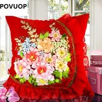 POVUOP Şerit nakış 45X45 cm 3d üç boyutlu yastık kalitesi araba yastık çapraz dikiş iç dahil değildir