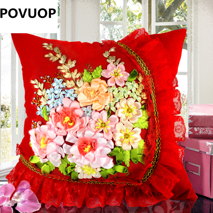 POVUOP Ribbon embroidery 45X45cm 3d three-dimensional cushion quality car pillow cross stitch not include inner