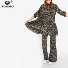 ROHOPO Women Full Length Flare Pant Belt Printed High Waist Casual Trousers Metal Chain Vogue Bottom #XZ1914