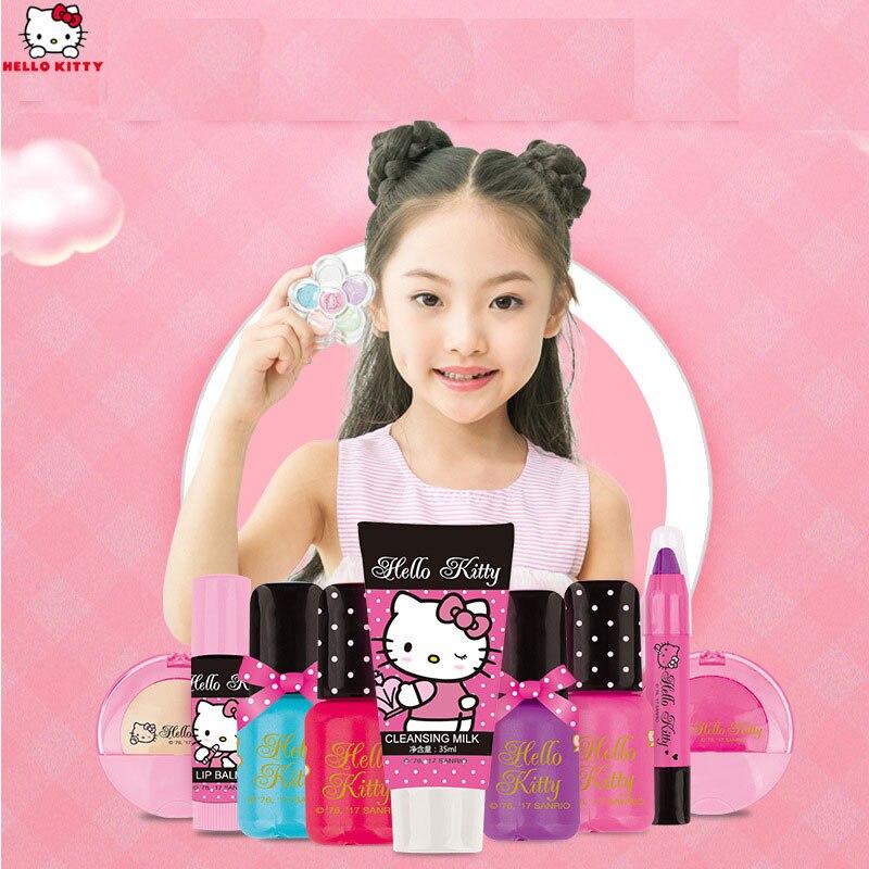 HELLO KITTY toys for girls children's cosmetics girl princess makeup portable box children's makeup toys birthday gift