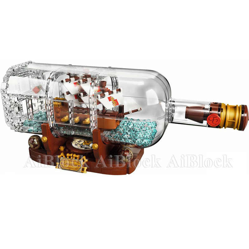 Hot Sale Pirates Of The Caribbean Ship In Bottle Compatible Legoing 10236 Model Building Blocks Children Birthday Gifts Toys