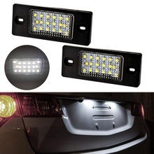 цена на 2pcs Car License Plate Light for Volkswagen VW Touareg Tiguan Golf 5 Passat B5 Auto Number Plate Canbus Error Free SMD LED Lamp
