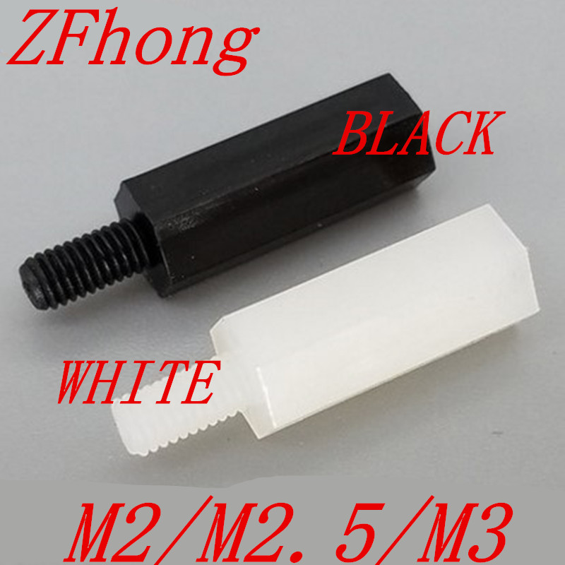 50pcs M2 M2.5 M3 plastic PC Male to female hex nylon standoff spacer m3 spacer hex standoff pcb hex nuts nylon black pillar female to female